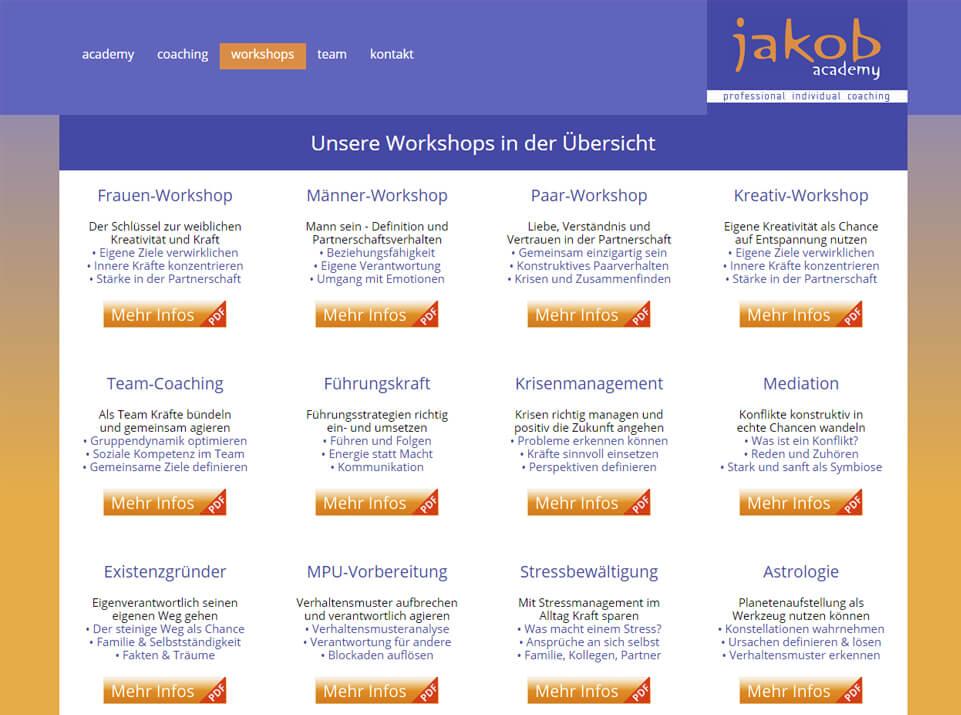 Webtexte für Jakob Academy